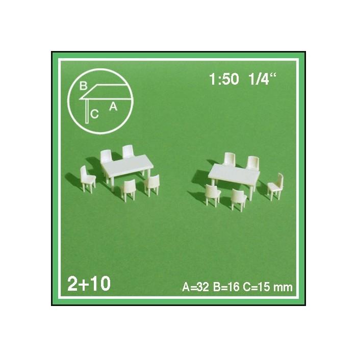 2 tables rectangulaires et 10 chaises échelle 1:50