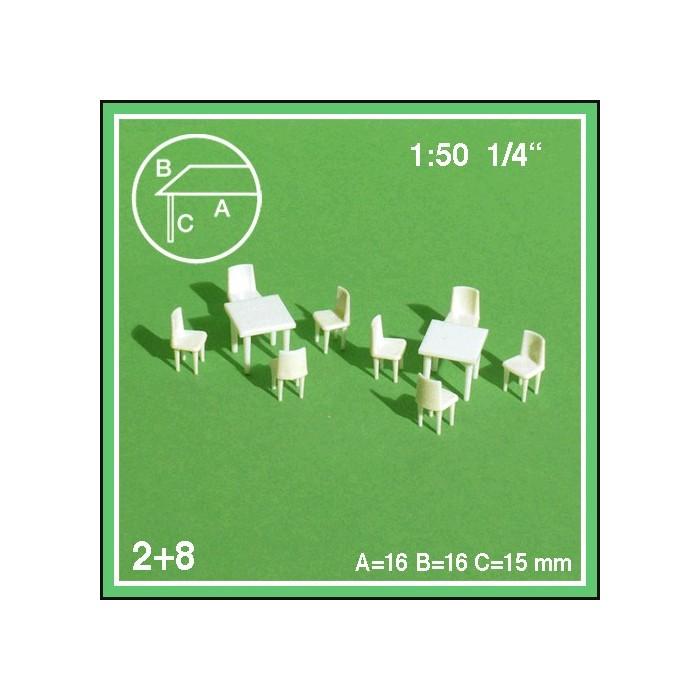 2 tables carrées et 8 chaises échelle 1:50