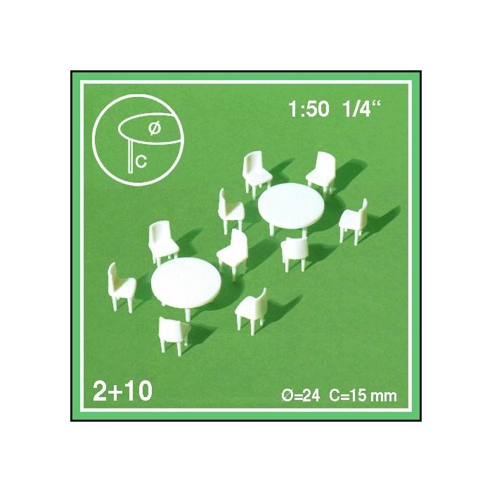 2 tables rondes et 10 chaises échelle 1:50