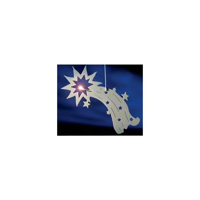 Sujet étoile lumineux, en bois