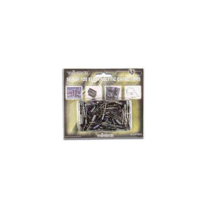Condensateurs électrolytiques sélection de 120 pièces.