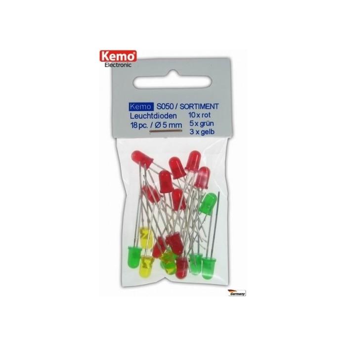 Assortiment de LED rouge-verte-jaunes Ø 5 mm. Environ 18 pièces