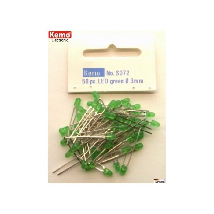LED verte Ø 3 mm. Environ 50 pièces