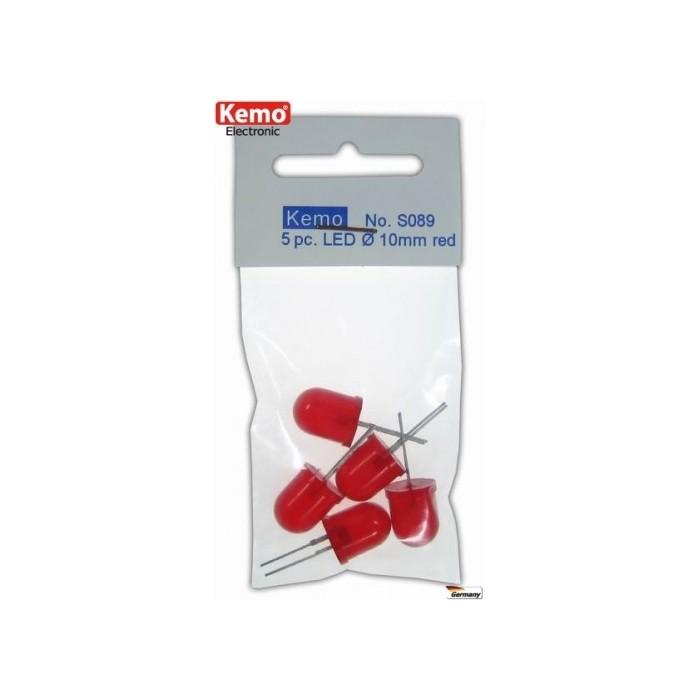 LED rouge Ø 10 mm. 5 pièces