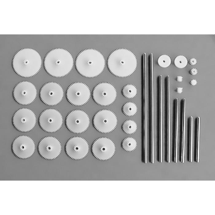Jeu de roues dentés avec axes inclus de 3 mm