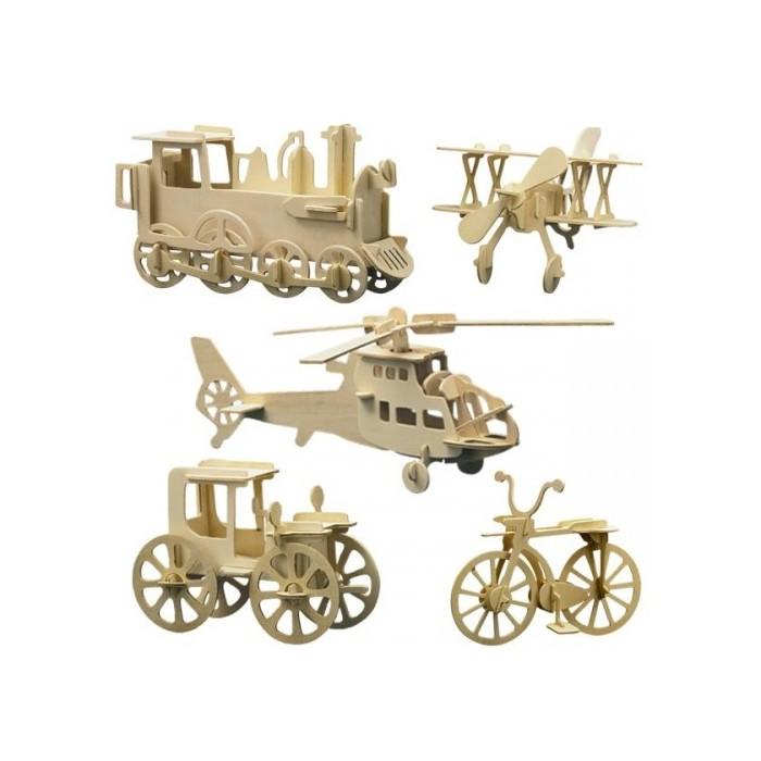 5 puzzles à monter : loco, hélico, vélo voiture ancienne et avion biplan