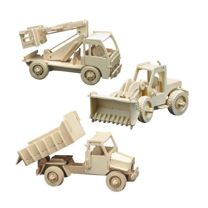3 puzzles à monter : Camion benne, camion nacelle et bulldozer