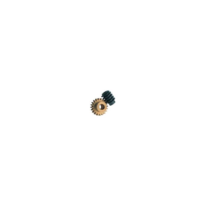 """Ensemble vis sans fin et pignon de 9 mm. Réduction 33:1, Axe moteur 2,0 mm, Axe de sortie 1/8"""""""