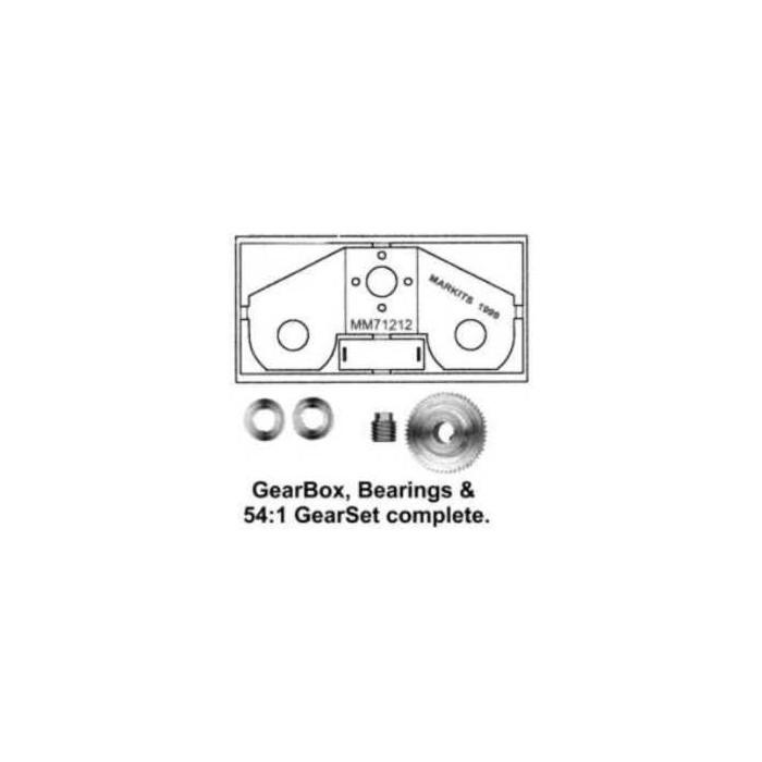 """Ensemble Romford. Réduction 54:1 Axe moteur 2,0mm, Axe de sortie 3/16"""""""