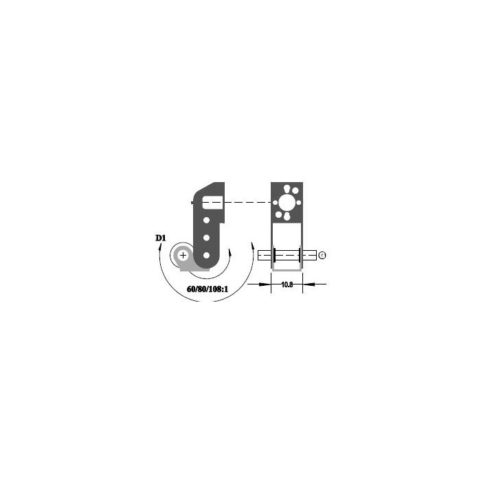 """Réducteur à 2 étages de réduction. Réduction 60:1, Axe moteur 1,5 mm, Axe de sortie 1/8"""""""
