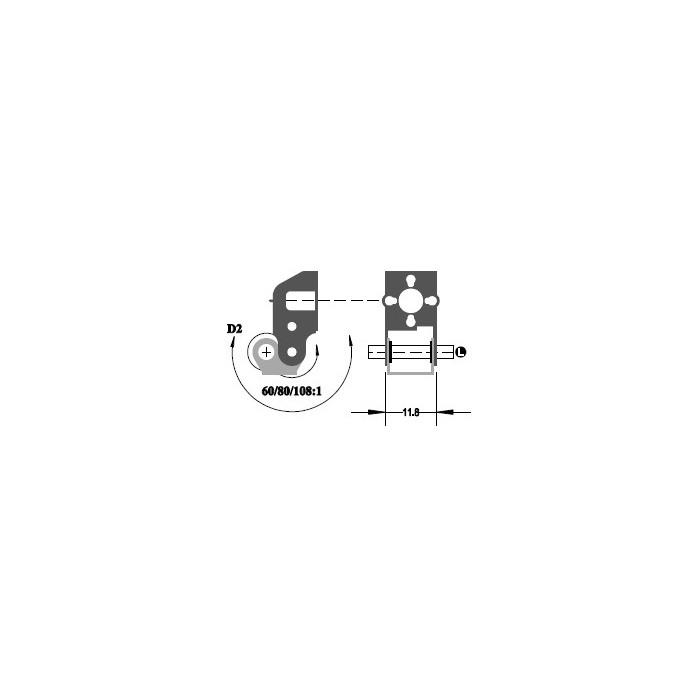 """Réducteur à 2 étages de réduction. Réduction 108:1, Axe moteur 1,5 mm, Axe de sortie 1/8"""""""