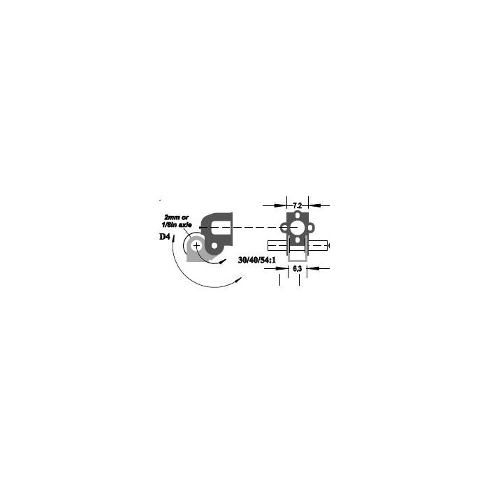 """Réducteur à 2 étages de réduction. Réduction 54:1, Axe moteur 1,5 mm, Axe de sortie 1/8"""""""
