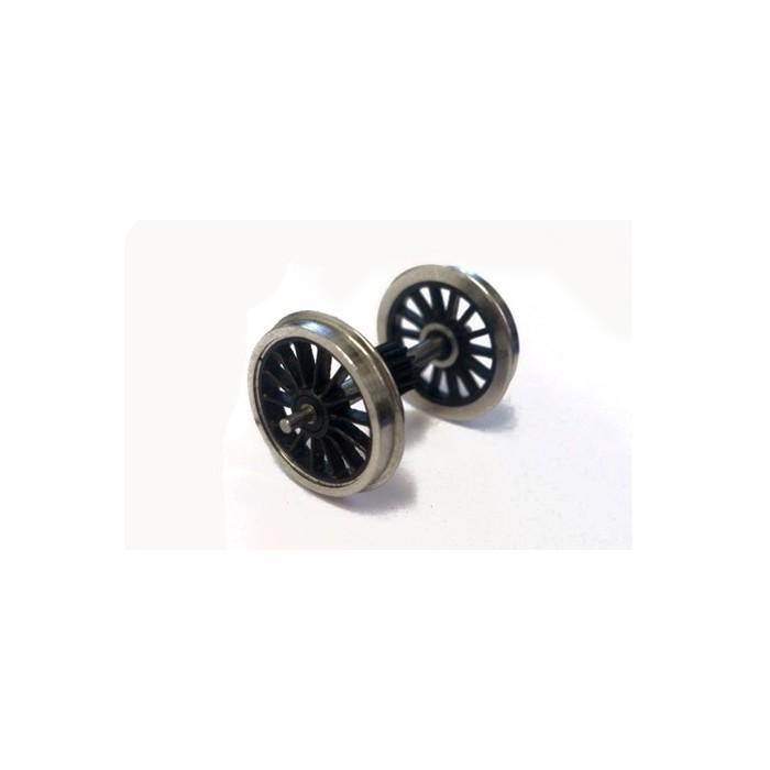 Axe, pignon central et 2 roues à rayons montées. Roues: A rayons, Diamètre: 14mm