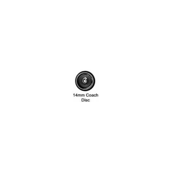 Roues à disque. Essieu coach (wagon) avec pointes (entrepointes 26mm). Diamètre : 14 mm