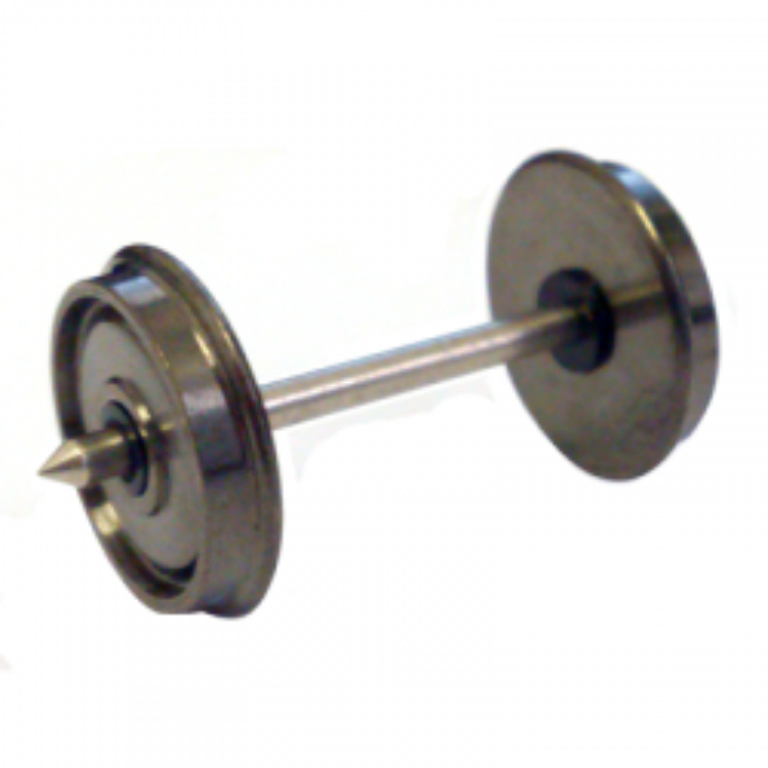 Axe fine scale courant continu entrepointe de 24,75, double isolation. Axe 1,5 mm, largeur de roue 2,20 mm, diamètre 9 mm