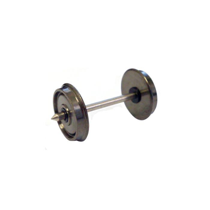 Axe fine scale courant continu entrepointe de 25,00, double isolation. Axe 1,5 mm, largeur de roue 2,20 mm, diamètre 9 mm