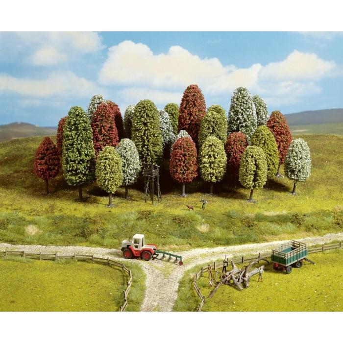 Assortiment d'arbres printaniers pour échelle HO, TT. 10 pièces
