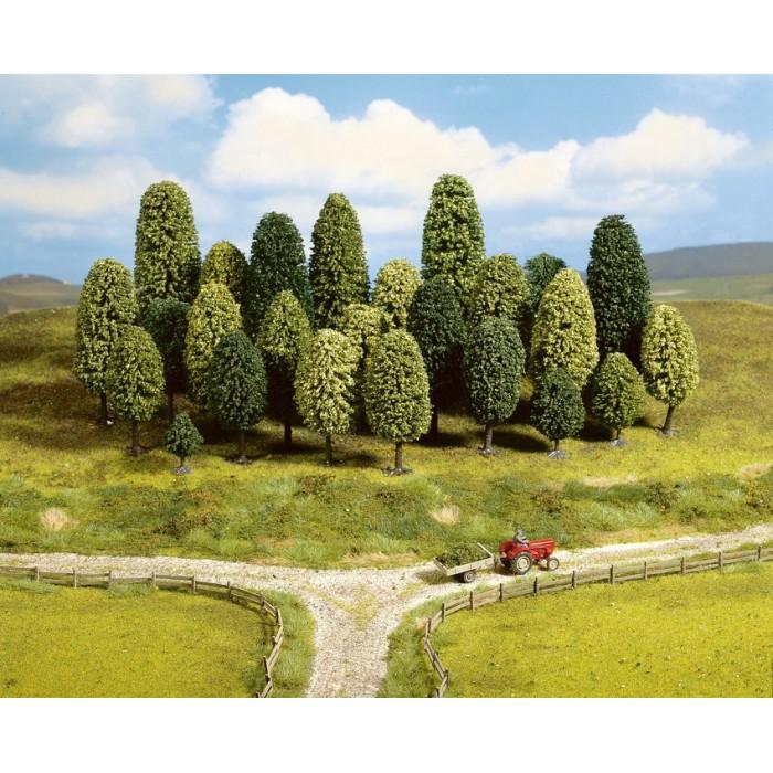 """Assortiment d'arbres feuillus finition """"HOBBY"""" pour échelle N et Z. 25 pièces"""