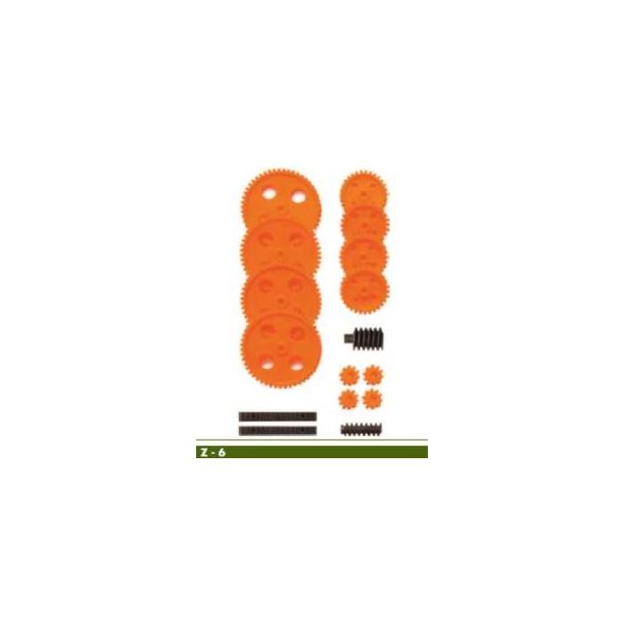 Jeu de roues dentées module 1 pour axes de 4mm (couleur orange)