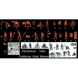 28 figures + 10 équipment au 1:72 California Gold Miners