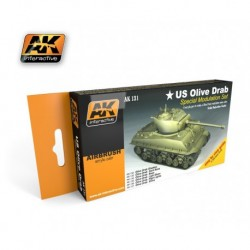 AK131 Olive Drab Color Set (Acrylic Paint Set)