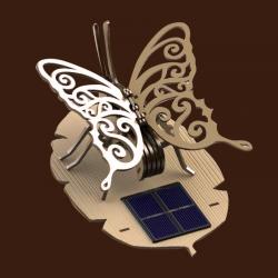 Papillon solaire en bois