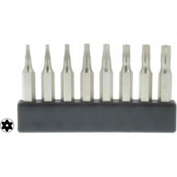 8 Mini Bits embout Torx avec trou - Longueur 28 mm