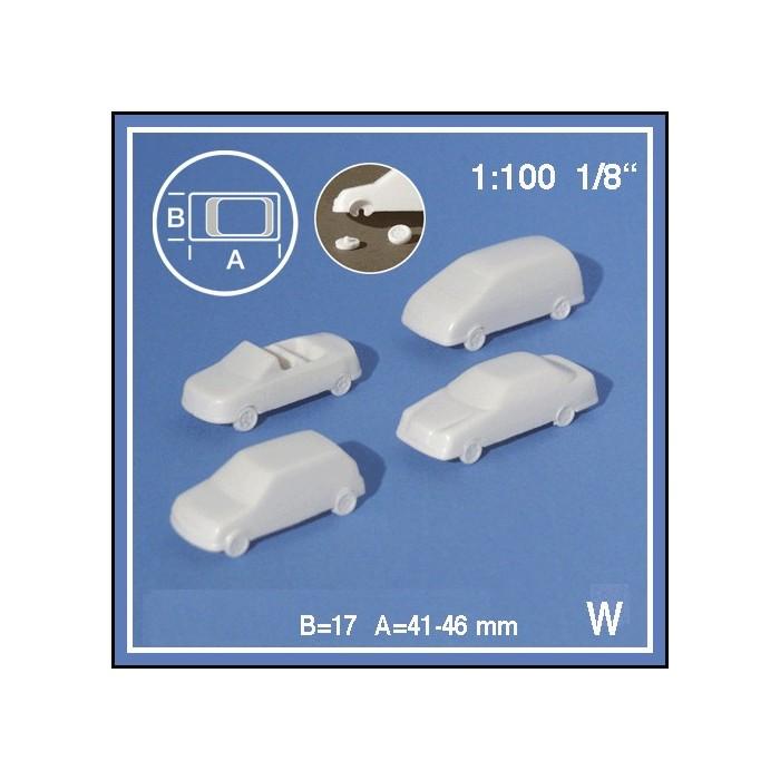 Voitures 1:100. 2 voitures blanches + pièces détachées à coller