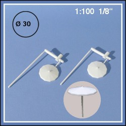 Parasols blancs 1:100. Diamètre 30 mm, pack de 2