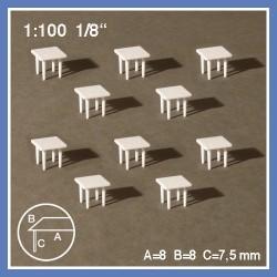 10 tables carrées à 4 pieds - échelle 1:100