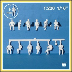 Personnages 3D 1:200. 12 figurines blanches, assis