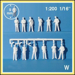 Personnages 3D 1:200. 12 figurines blanches, debout