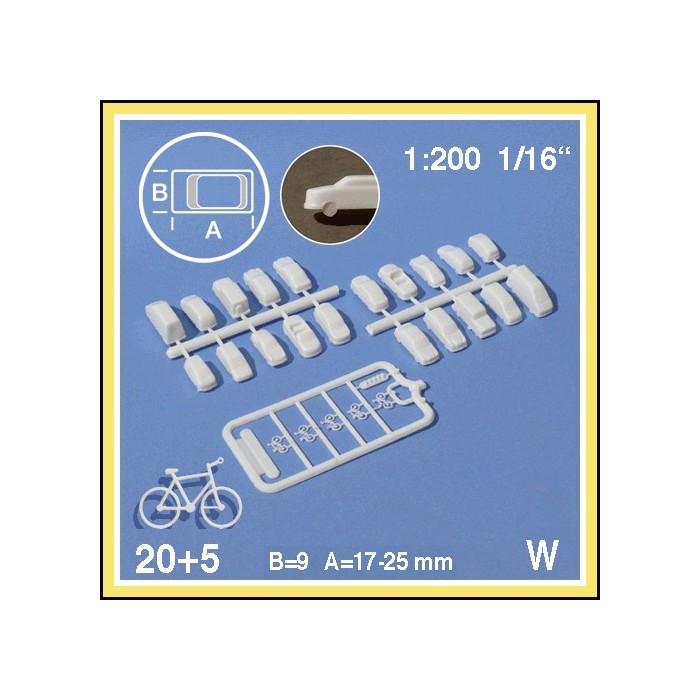Voitures et bicyclettes divers 1:200. 20+5 véchicules