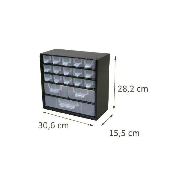 Casier en métal noir 18 tiroirs. Hauteur : 28,2 cm. Largeur : 30,6 cm