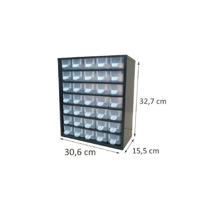 Casier en métal noir 35 tiroirs. Hauteur : 32,7 cm. Largeur : 30,6 cm