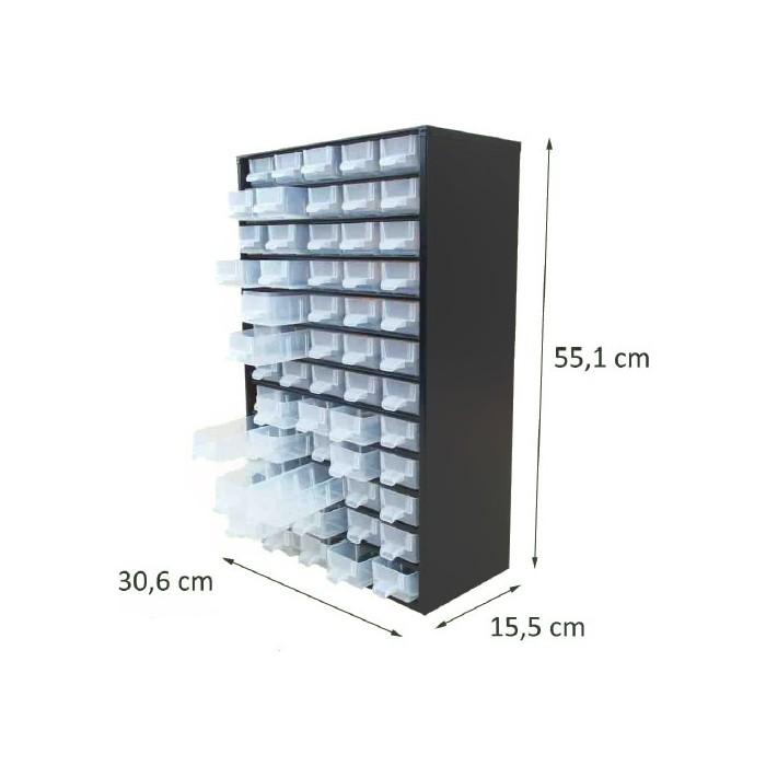 Casier en métal noir 60 tiroirs. Hauteur : 55,1 cm. Largeur : 30,6 cm