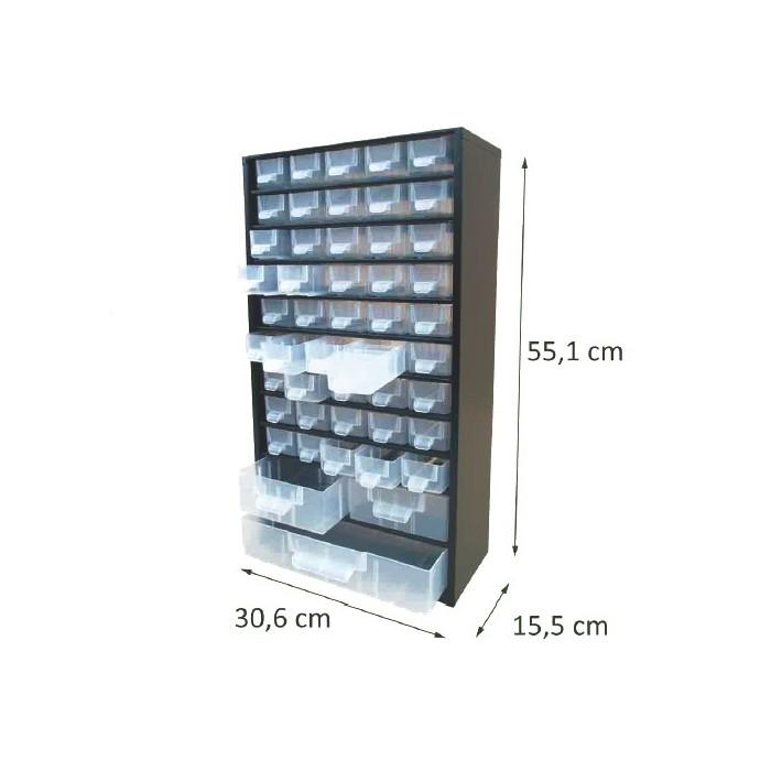 Casier en métal noir 48 tiroirs. Hauteur : 55,1 cm. Largeur : 30,6 cm