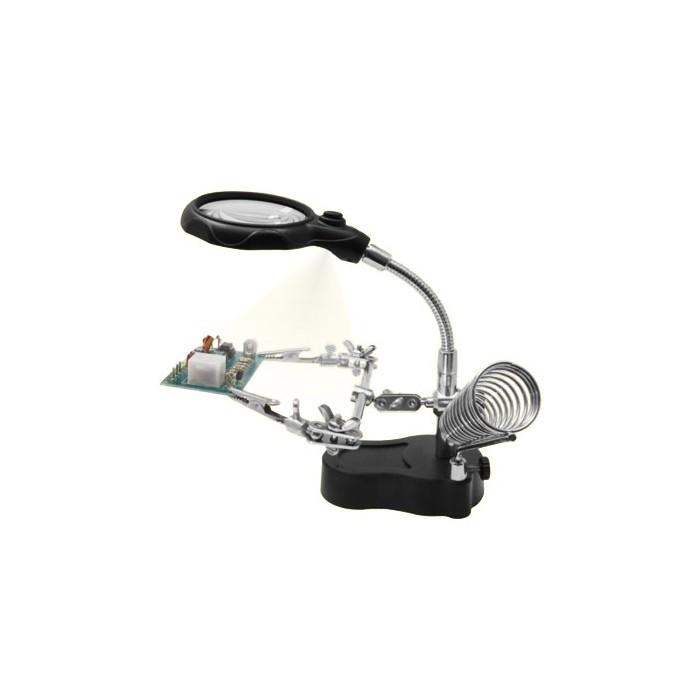 Loupe avec bras articulé, lampe LED et support pour fer à souder
