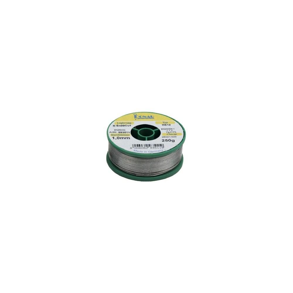 Lötdraht Sn99Cu1 (Schmelzpunkt 240°C) auf Rolle 250g Durchmesser 1mm ...