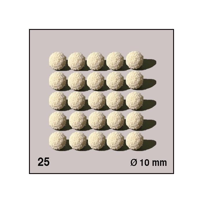 Boules d'éponge blanches, diamètre 10 mm. 25 boules