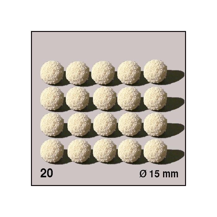 Boules d'éponge blanches, diamètre 15 mm. 20 boules