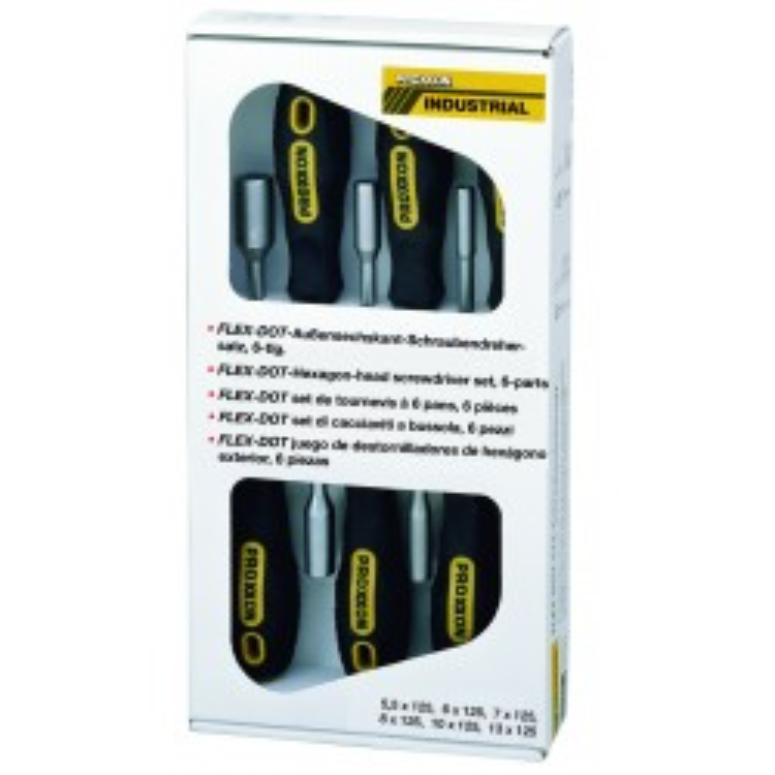 Jeu de tournevis FLEX-DOT 6-pces. HEX 5,5 à 13mm