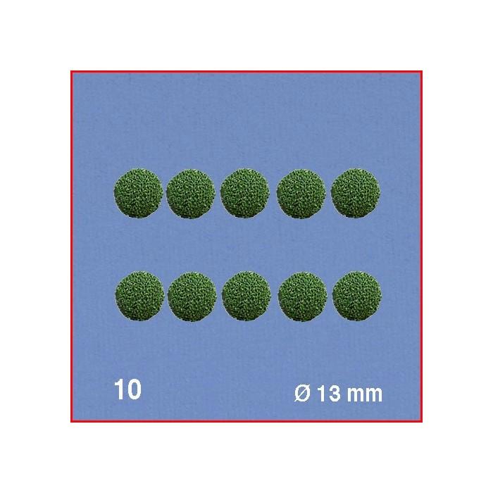 Boules pour têtes d'arbres, vert, diamètre 13 mm. 10 boules