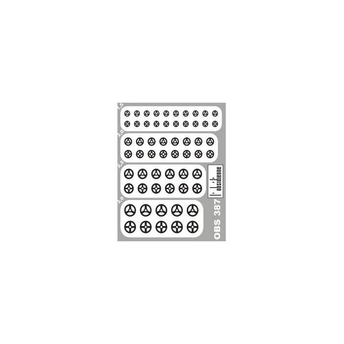 58 volants divers modèles diamètres 1,5 - 2 - 2,5 - 3 mm