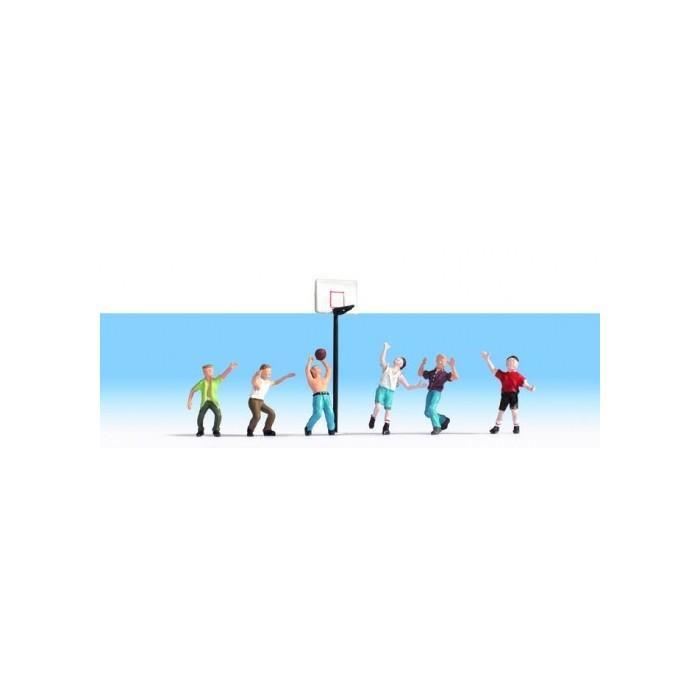 HO / Basketteurs. 6 figurines + accessoires