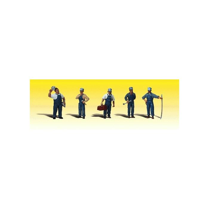 6 mécaniciens figurines peintes