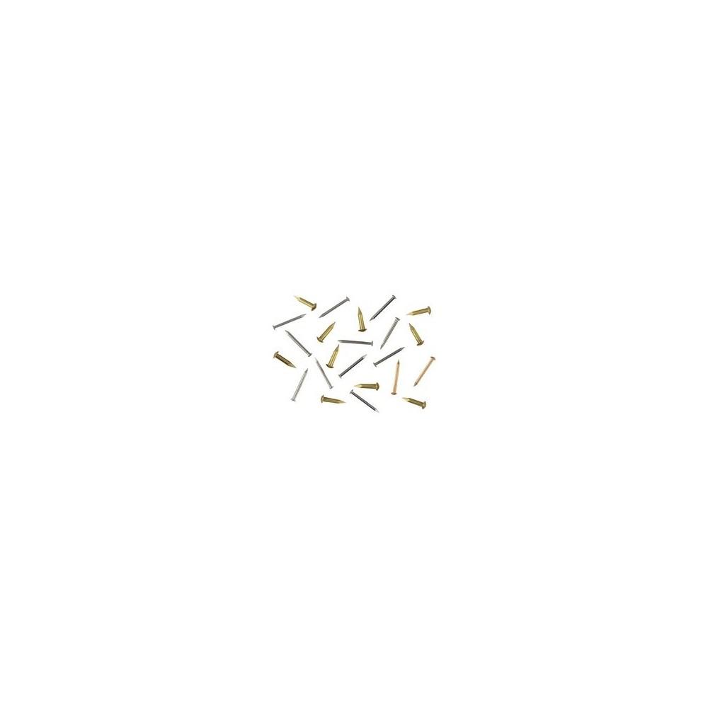 Clou laiton D 1,3mm, tête bombée de 2,3mm L 16mm environ 100 pièces