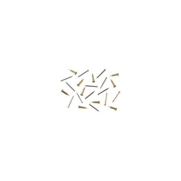 Clou laiton D 1,3mm, tête bombée de 2,3mm L 6mm, environ 100 pièces