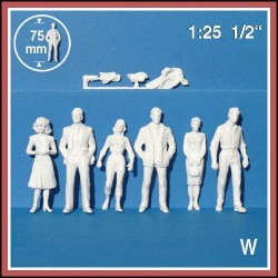 Personnages 3D 1:25. 6 figurines blanches, debout