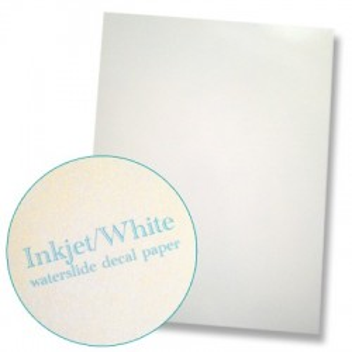 """Papier à décalcomanies pour imprimante jet d'encre format """"letter"""" fond blanc, la feuille"""